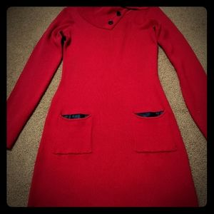 Red button neck leather pocket dress